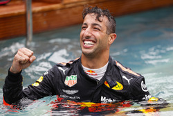 Daniel Ricciardo, Red Bull Racing, celebrates victory in the swimming pool on the Red Bull Energy Station