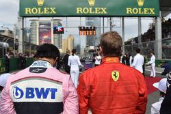 Sergio Perez, Force India y Kimi Raikkonen, Ferrari