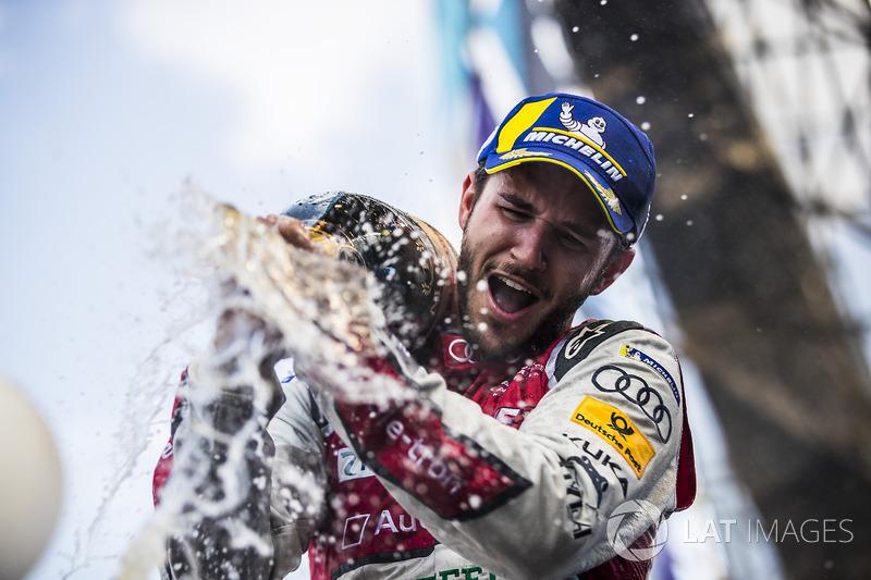 Daniel Abt, Audi Sport ABT Schaeffler, sprays the champagne after winning the race