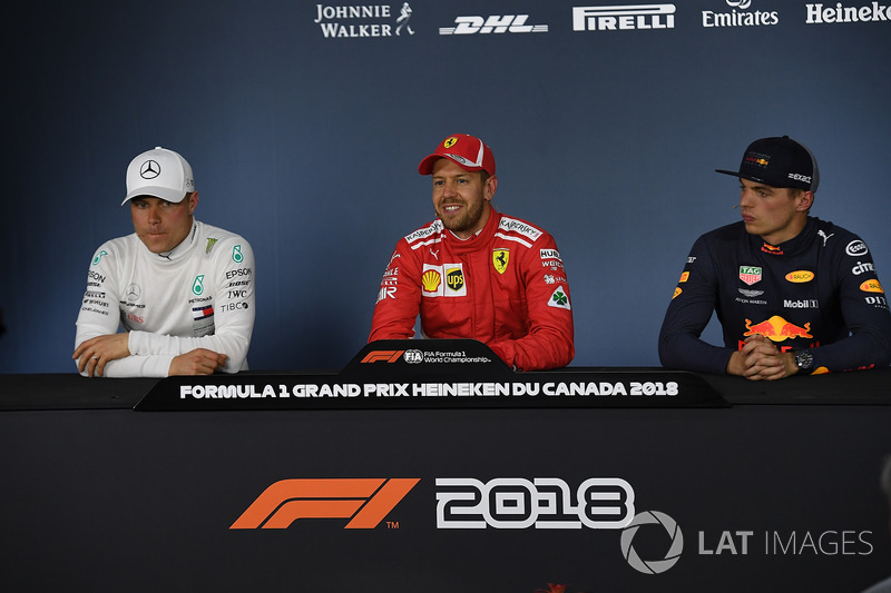 Valtteri Bottas, Mercedes-AMG F1, Sebastian Vettel, Ferrari and Max Verstappen, Red Bull Racing in the Press Conference