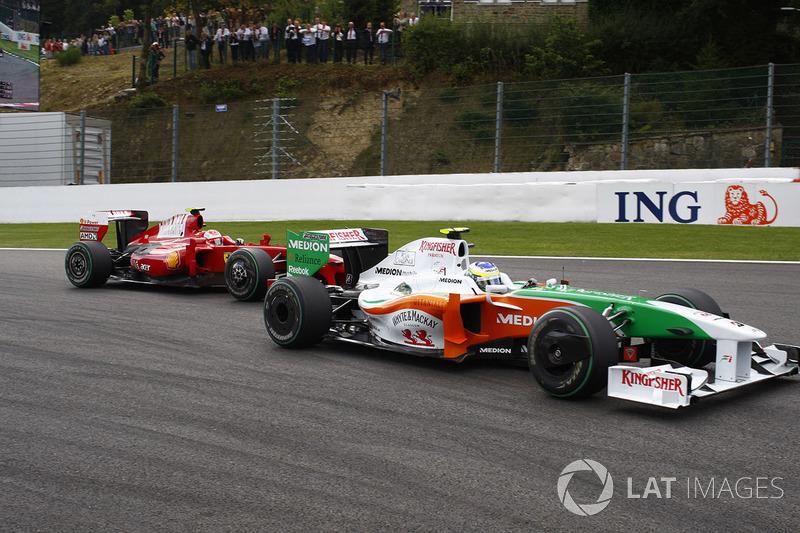 Giancarlo Fisichella, Force India VJM02 Mercedes, Kimi Raikkonen, Ferrari F60