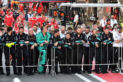 Mercedes AMG F1 mechanics in parc ferme