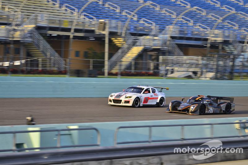 #57 FP1 Ginetta G57 driven by Mike Simpson & Giulio Borglenghi of Ginetta USA, #79 MP1A Mazda RX-8 driven by Santiago Lozano & Sebastian Villamil of TR3 Performance