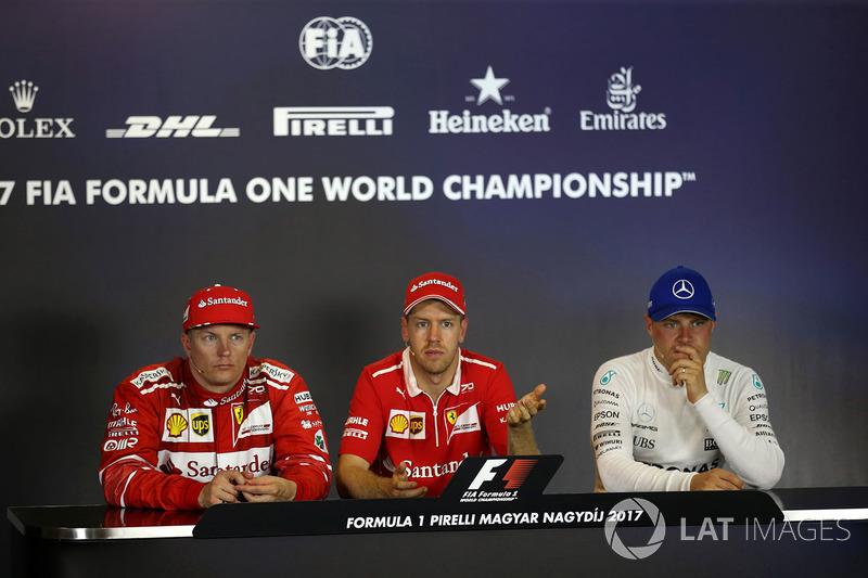 Conferencia de prensa: ganador de la carrera Sebastian Vettel, Ferrari, segundo lugar de Kimi Raikkonen, de Ferrari y tercer lugar Valtteri Bottas, Mercedes AMG F1 tercer lugar Valtteri Bottas, Mercedes AMG F1