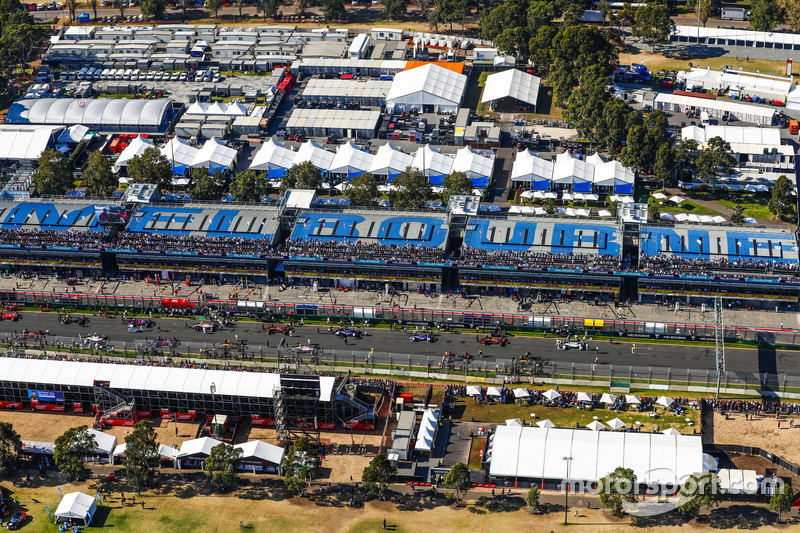The pre race grid as seen from the air