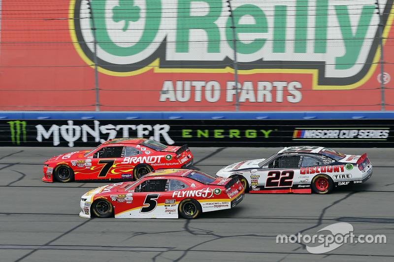 Justin Allgaier, JR Motorsports, Chevrolet; Michael Annett, JR Motorsports, Chevrolet; Joey Logano, Team Penske, Ford