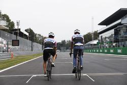 Esteban Ocon, Force India, Sergio Perez, Force India, take to the circuit on bicycles