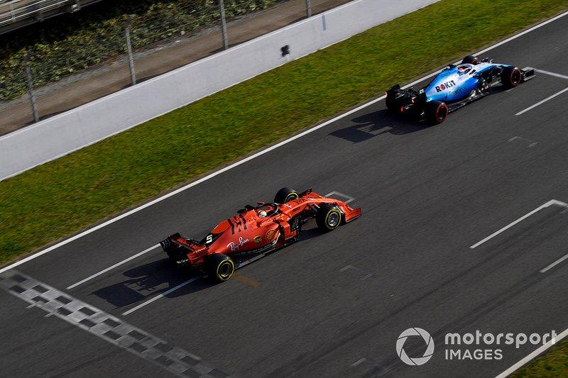 George Russell, Williams FW42, Sebastian Vettel, Ferrari SF90