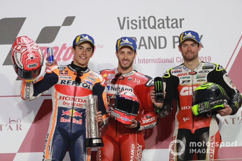 Podium: second place Marc Marquez, Repsol Honda Team, Race winner Andrea Dovizioso, Ducati Team, third place Cal Crutchlow, Team LCR Honda