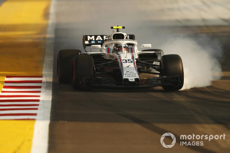 Sergey Sirotkin, Williams FW41, bloque une roue