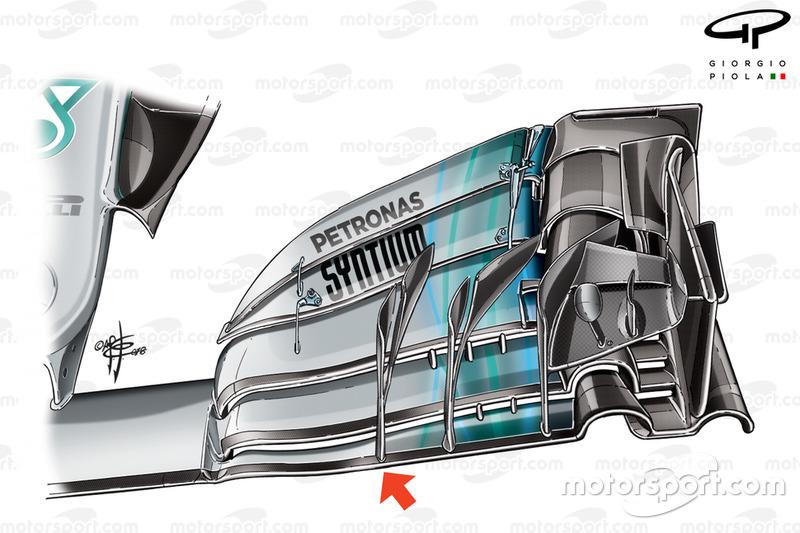 Mercedes W09, első szárny