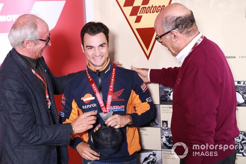 Vito Ippolito, FIM President, Dani Pedrosa, Repsol Honda Team, Carmelo Ezpeleta, CEO Dorna Sports
