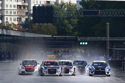 Toomas Heikkinen, EKS, Audi S1 EKS RX Quattro, Mattias Ekström, EKS, Audi S1 EKS RX Quattro, Petter Solberg, PSRX Volkswagen Sweden, VW Polo GTi, Sebastien Loeb, Team Peugeot-Hansen, Peugeot 208 WRX