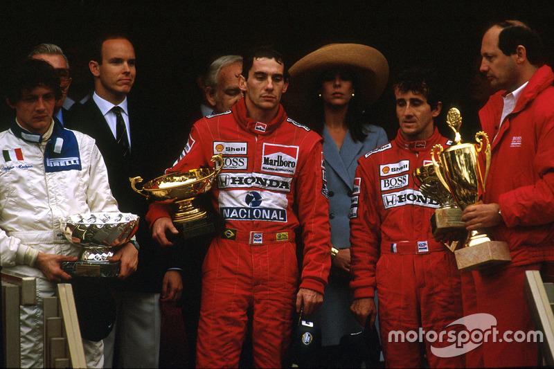 Ayrton Senna, McLaren Honda, 1st position, Alain Prost, McLaren Honda, 2nd position and Stefano Mode