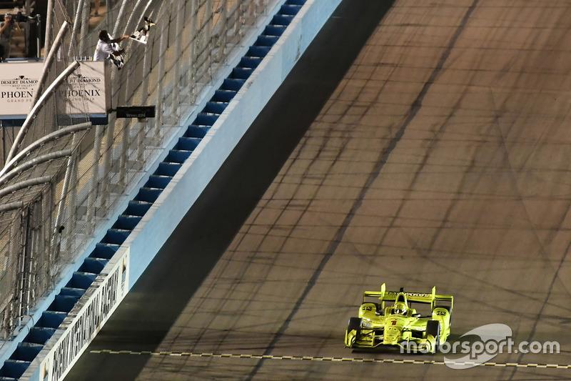 Simon Pagenaud, Team Penske Chevrolet, takes the checkered flag