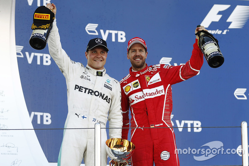 Podium: race winner Valtteri Bottas, Mercedes AMG F1, second place Sebastian Vettel, Ferrari