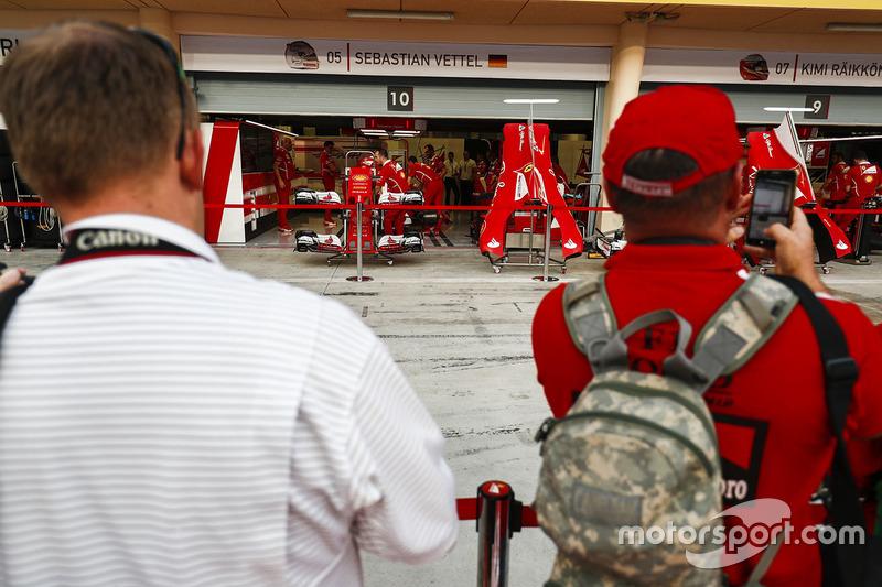 Fans outside the Ferrari garage
