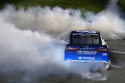 Martin Truex Jr., Furniture Row Racing Toyota celebrates his win with a burnout
