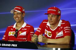 Sebastian Vettel, Ferrari, Kimi Raikkonen, Ferrari, in the FIA press conference
