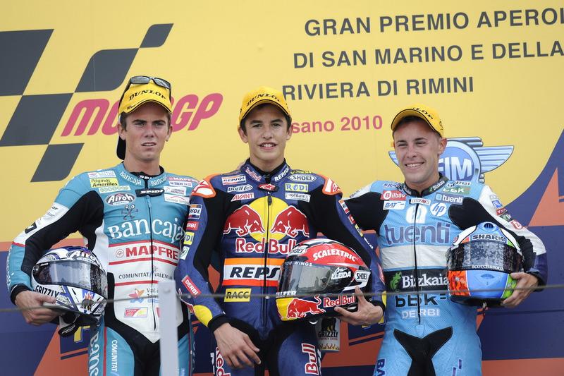 Le podium du GP de Saint-Marin 2010 de 125cc : Marc Márquez, Nicolás Terol, Efrén Vázquez