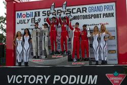 GTD Podium: Winner #57 Stevenson Motorsports Audi R8 LMS GT3: Andrew Davis, Lawson Aschenbach, second place #93 Michael Shank Racing Acura NSX: Andy Lally, Katherine Legge, third place #63 Scuderia Corsa Ferrari 488 GT3: Christina Nielsen, Alessandro Balzan