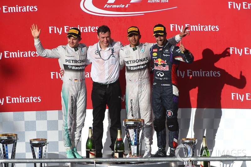 2014 : 1. Lewis Hamilton, 2. Nico Rosberg, 3. Daniel Ricciardo