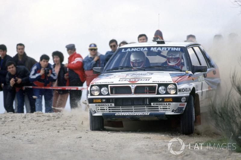 Miki Biasion, con un Lancia Delta en el Rally de Portugal 1988