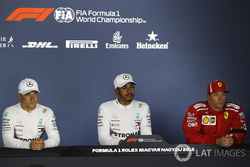 Press-conference: pole sitter Lewis Hamilton, Mercedes AMG F1, second place Valtteri Bottas, Mercedes AMG F1, Third place Kimi Raikkonen, Ferrari