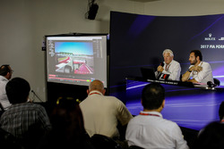 Charlie Whiting, FIA Delegate and Matteo Bonciani, FIA Media Delegate in the Press Conference discussing the Kimi Raikkonen, Ferrari and Max Verstappen, Red Bull Racing incident at United States Grand Prix