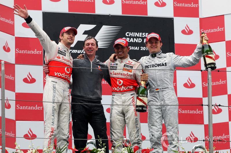 2010: 1. Jenson Button, 2. Lewis Hamilton, 3. Nico Rosberg