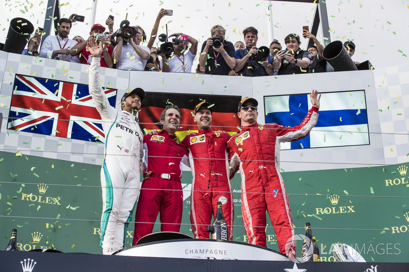 Lewis Hamilton, Mercedes-AMG F1, Inaki Rueda, Ferrari Race Strategist, Sebastian Vettel, Ferrari and Kimi Raikkonen, Ferrari celebrate on the podium