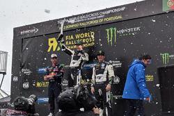 Podium: Race winner Johan Kristoffersson, PSRX Volkswagen Sweden, second place Sébastien Loeb, Team Peugeot Total, third place Petter Solberg, PSRX Volkswagen Sweden