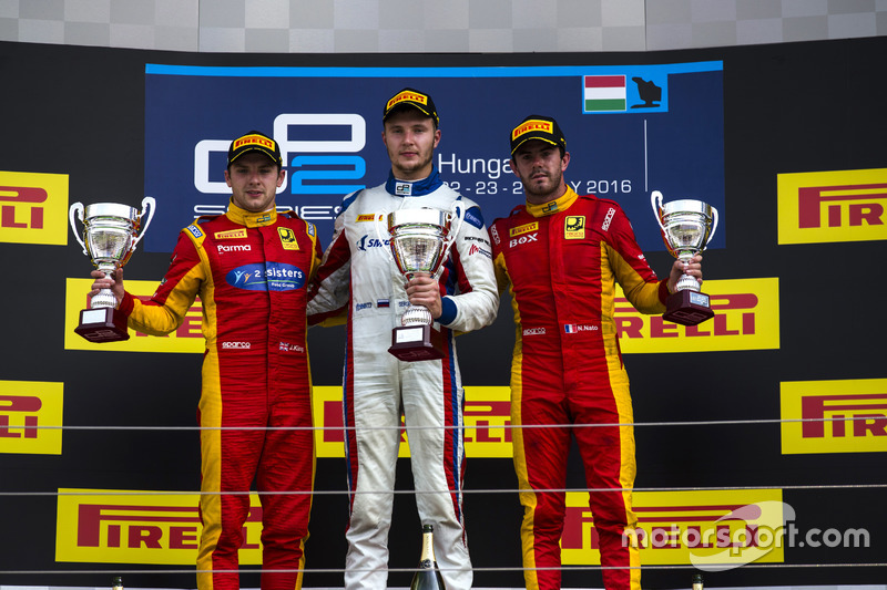Podium: Race winner Sergey Sirotkin (RUS, ART Grand Prix; second place , ART Grand Prix), Jordan King, Racing Engineering; third place Norman Nato, Racing Engineering