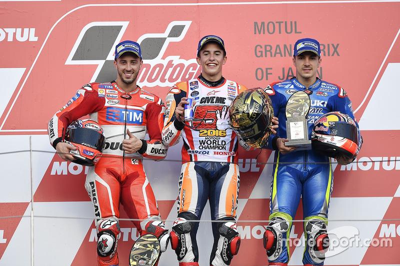 2016 podium with winner Marc Marquez, Andrea Dovizioso and Maverick Vinales