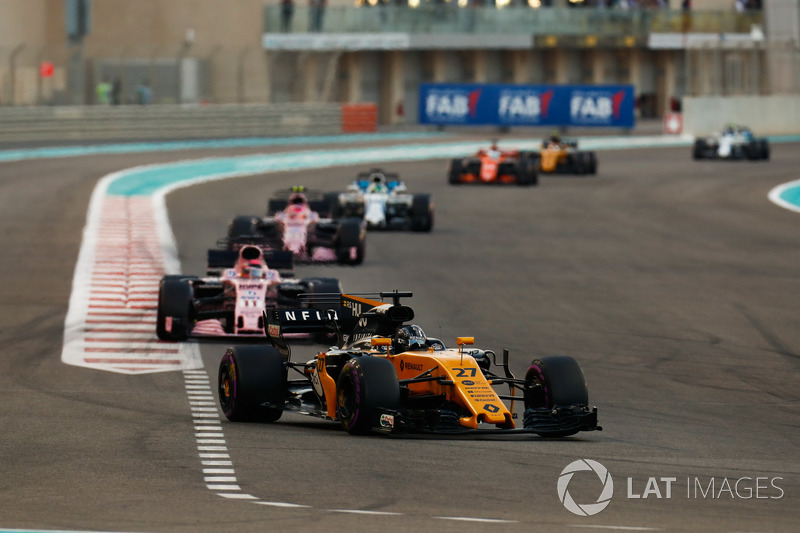 Nico Hulkenberg, Renault Sport F1 Team RS17, Esteban Ocon, Sahara Force India F1 VJM10, Sergio Perez, Sahara Force India F1 VJM10, Felipe Massa, Williams FW40