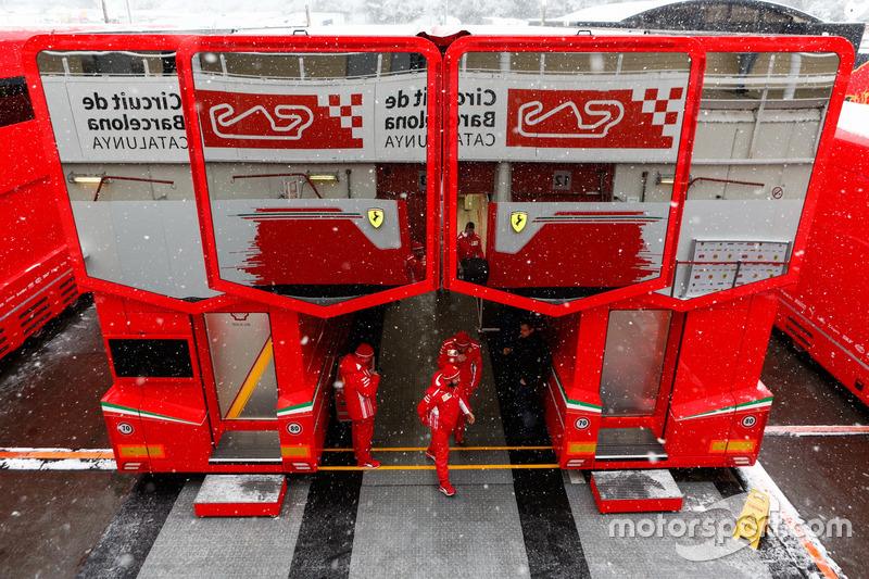 Snow on the track at Ferrari Hospitality