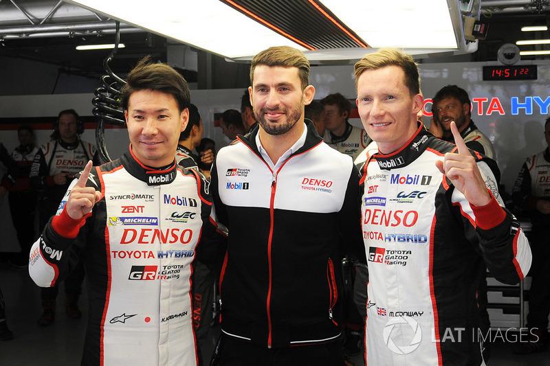 Ganadores de la pole Mike Conway, Kamui Kobayashi,  José María López, Toyota Gazoo Racing