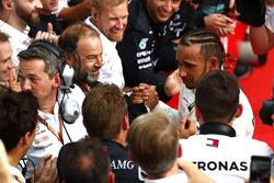 Lewis Hamilton, Mercedes AMG F1, celebrates victory in parc ferme