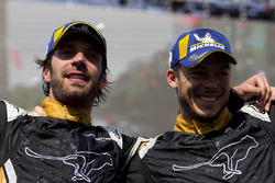 Jean-Eric Vergne, Techeetah, with Andre Lotterer, Techeetah on the podium