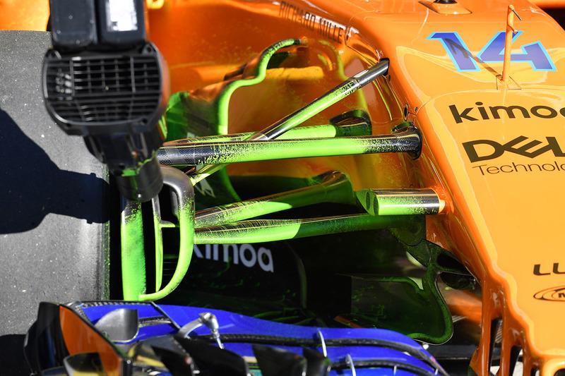 McLaren MCL33 detalle suspensión con parafina