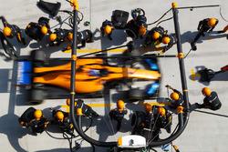 Fernando Alonso, McLaren MCL33 Renault, dans les stands