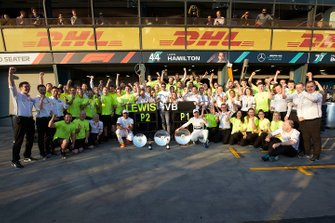 The Mercedes AMG F1 team celebrate a perfect weekend with Valtteri Bottas, Mercedes AMG F1, 1st position, and Lewis Hamilton, Mercedes AMG F1, 2nd position