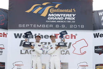 #25 BMW Team RLL BMW M8, GTLM: Alexander Sims, Connor de Phillippi, podium