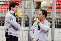 Toto Wolff, Mercedes AMG F1 Shareholder and Executive Director with Ron Meadows, Mercedes GP Team Manager