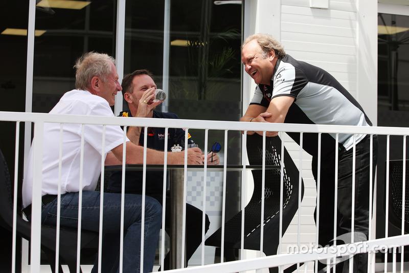 Dr Helmut Marko, Red Bull Motorsport Consultor con Christian Horner, Red Bull Racing Director del equipo Robert Fernley, Sahara Force India F1 Team sub director del equipo