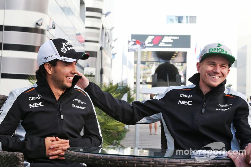 Sergio Perez, Sahara Force India F1 and Nico Hulkenberg, Sahara Force India F1