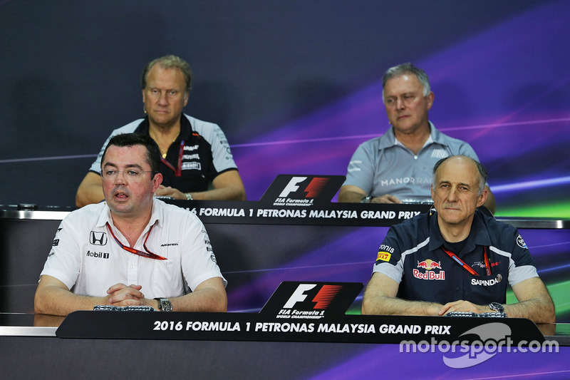 Pressekonferenz: Robert Fernley, Sahara Force India F1 Team; Dave Ryan, Manor Racing; Eric Boullier, McLaren; Franz Tost, Scuderia Toro Rosso