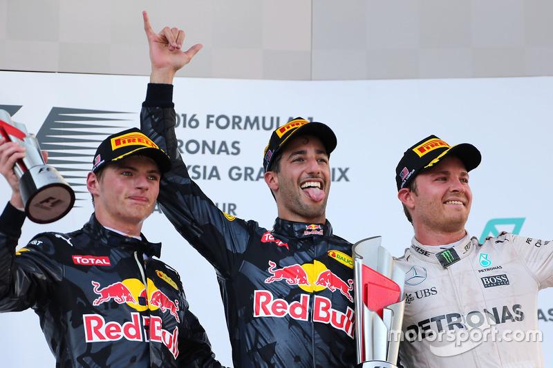 2016 : 1. Daniel Ricciardo, 2. Max Verstappen, 3. Nico Rosberg