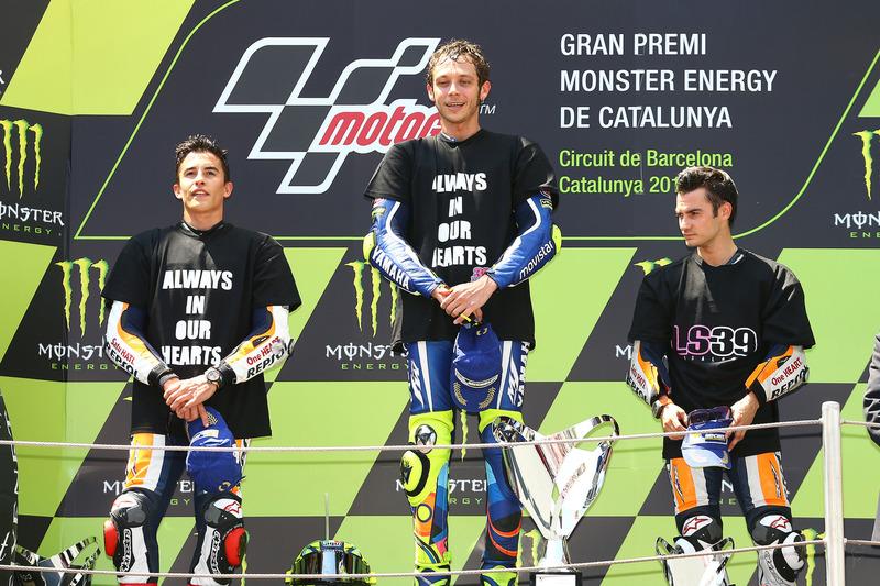 1. Valentino Rossi, 2. Marc Marquez, 3. Dani Pedrosa