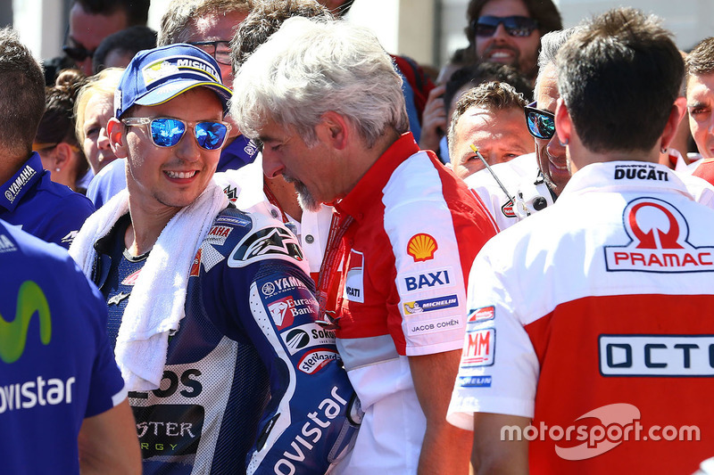Third place Jorge Lorenzo, Yamaha Factory Racing with Gigi Dall'Igna, Ducati Corse General Manager